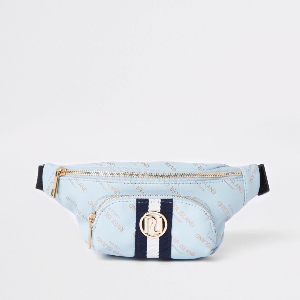 Girls blue RI print contrast stripe bum bag