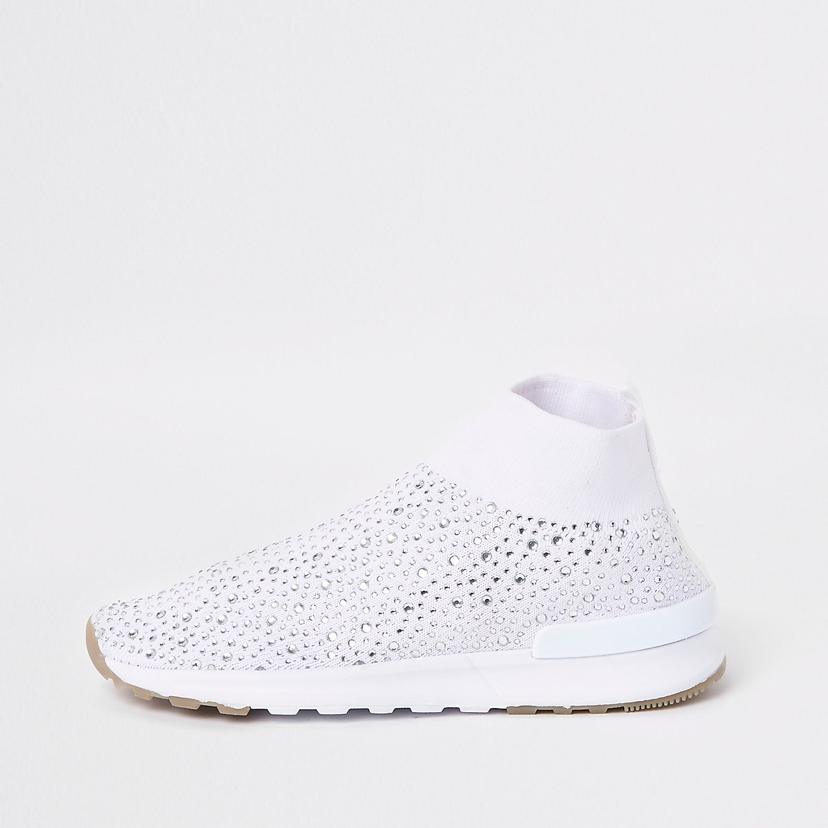 Girls white sequin embellished sock sneakers
