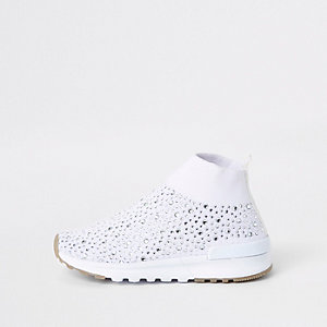 Mini girls white sequin sock runner trainers