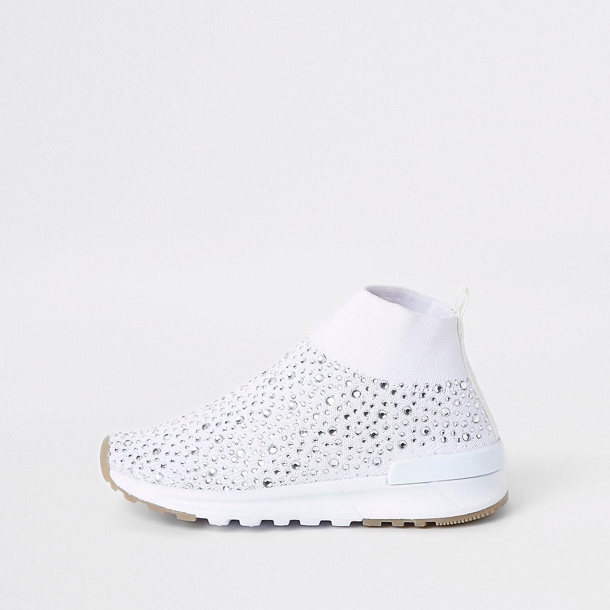 Mini girls white sequin sock runner sneakers