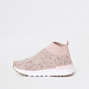 Mini girls pink sequin sock runner trainers