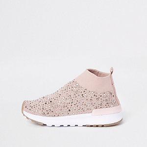 Baskets roses à sequins style chaussettes pour mini fille