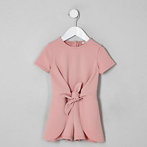 Mini girls pink knot front romper