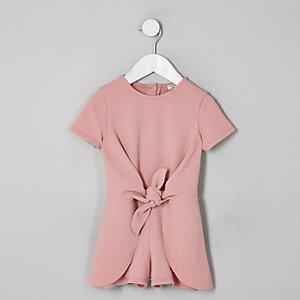 Mini - Roze playsuit met knoop voor meisjes