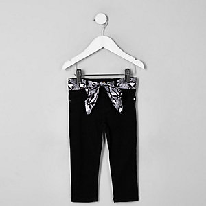 Mini girls black Molly snake belt jeggings