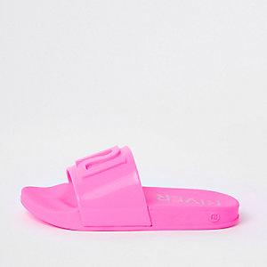 Claquettes en plastique rose fluo pour fille