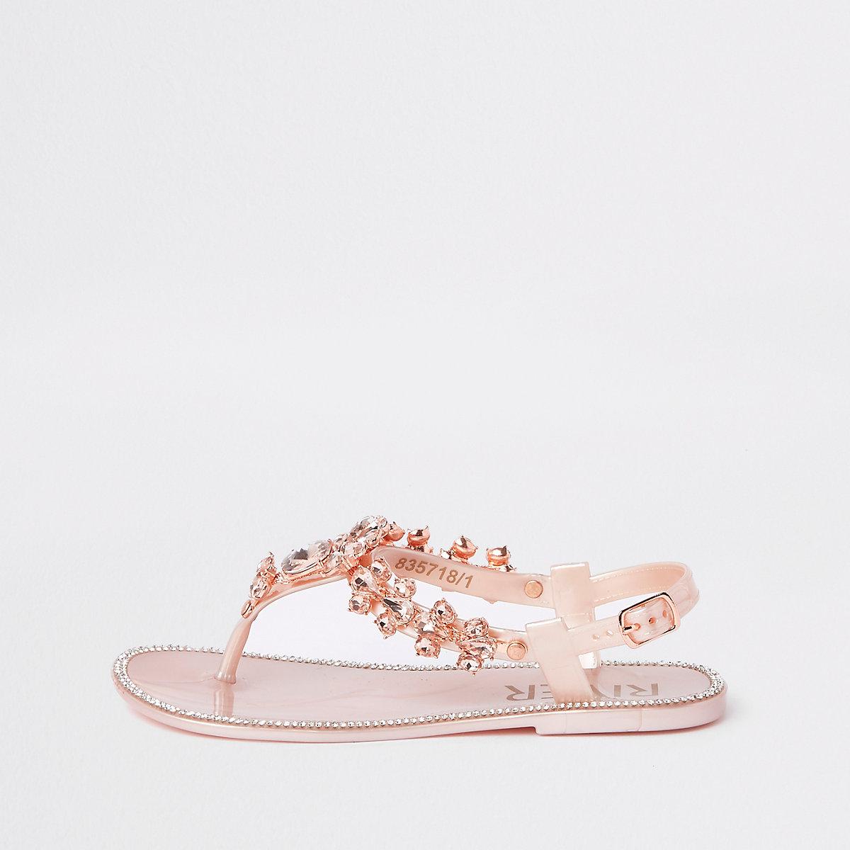 Girls pink embellished jelly sandals