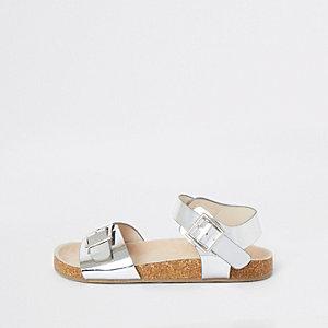 Zilverkleurige sandalen met kurk voor meisjes