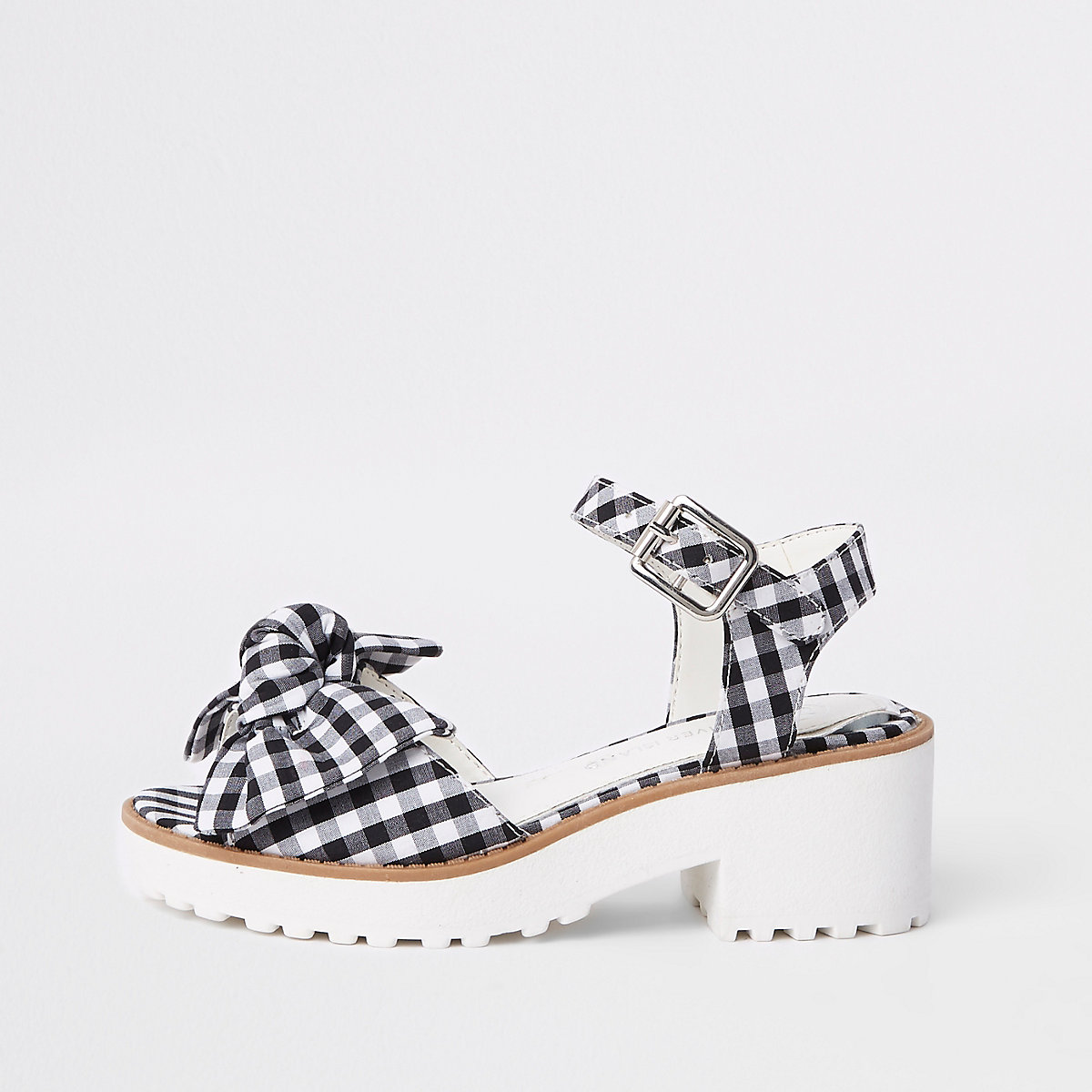 Girls black gingham bow clumpy sandals