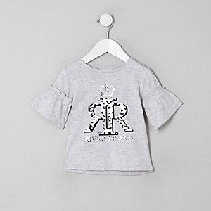 Mini - Grijs T-shirt met RI-logofolieprint voor meisjes