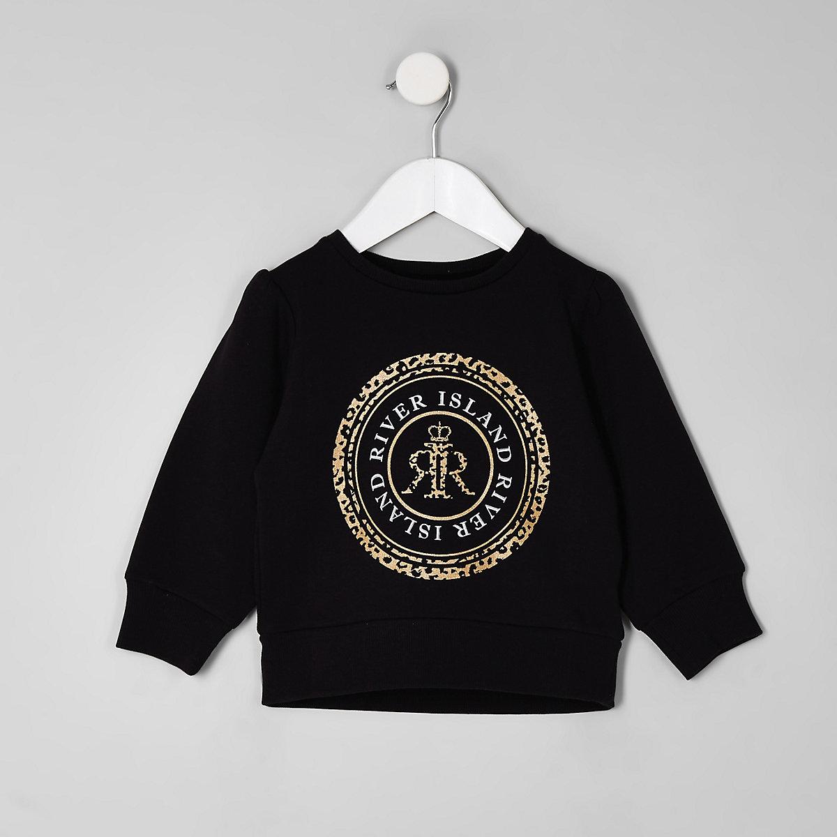 Mini girls black RI leopard print sweatshirt