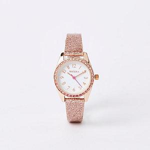 Girls rose gold glitter strap watch