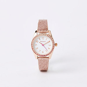 Girls rose gold glitter strap watch