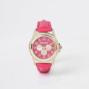 Girls pink diamante encrusted watch