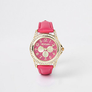 Girls pink rhinestone encrusted watch