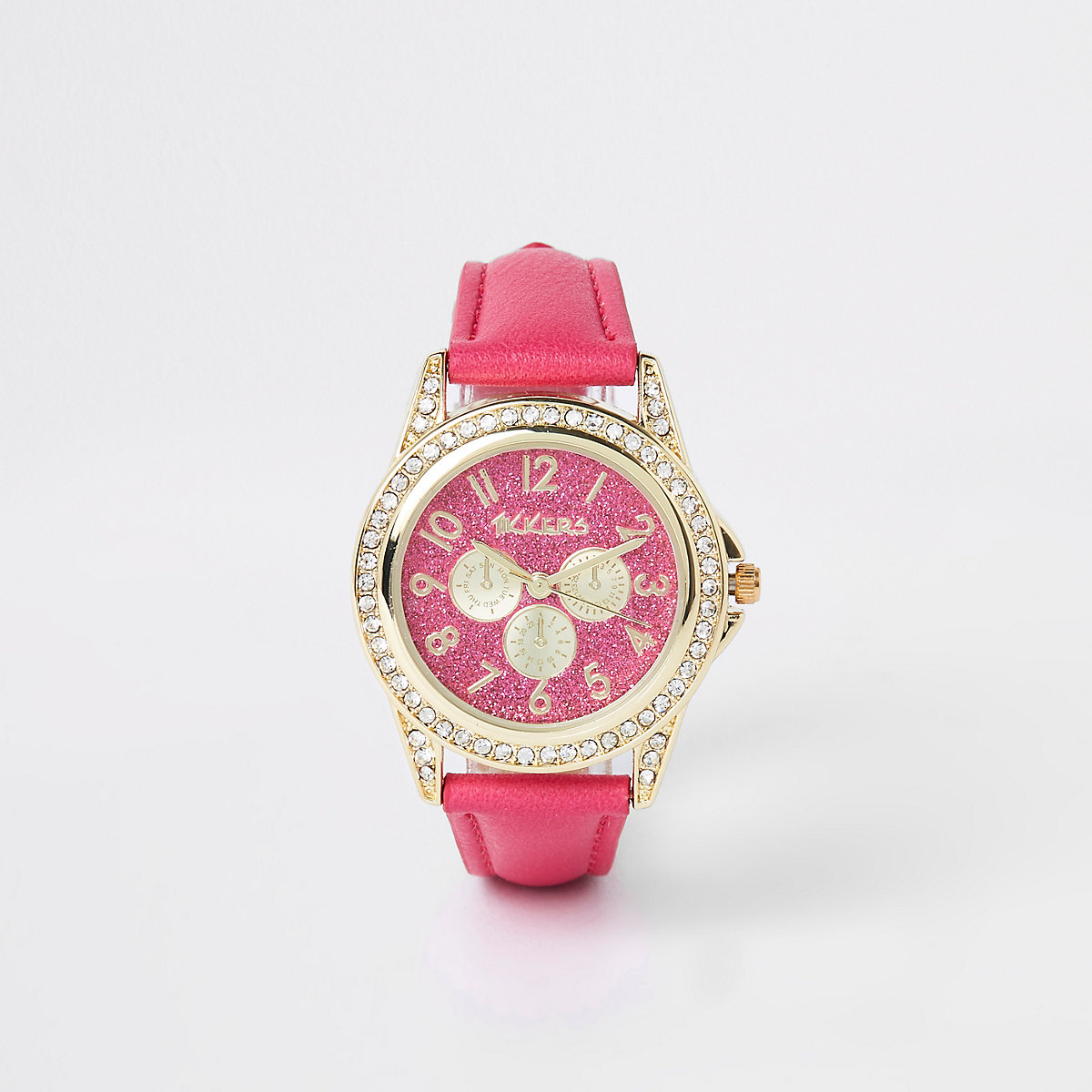 Girls pink rhinestone encrusted watch