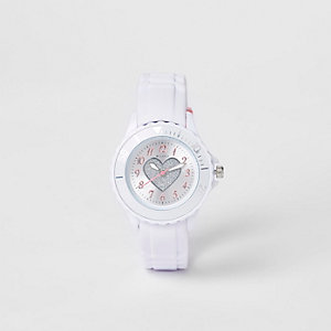 Girls white rubber strap glitter heart watch