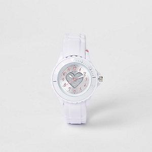 Montre avec bracelet en caoutchouc blanc motif cœur à paillettes pour fille