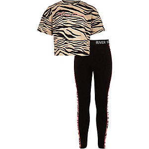 Girls beige zebra print outfit