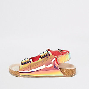 Mini girls pink iridescent cork sliders