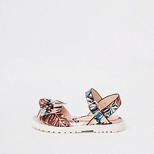 Mini girls pink tropical print chunky sandals