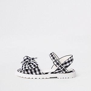 Mini - Witte geruite stevige sandalen met strik voor meisjes
