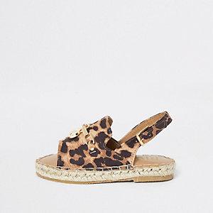 Sandales léopard avec bordure style espadrilles mini fille