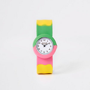 Girls pink multicoloured snap on watch
