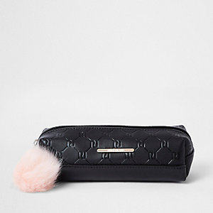 Girls black RI monogram pencil case