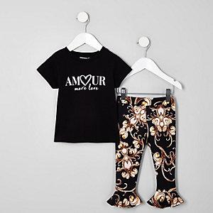 Mini - Outfit met zwart T-shirt met 'amour'-print voor meisjes