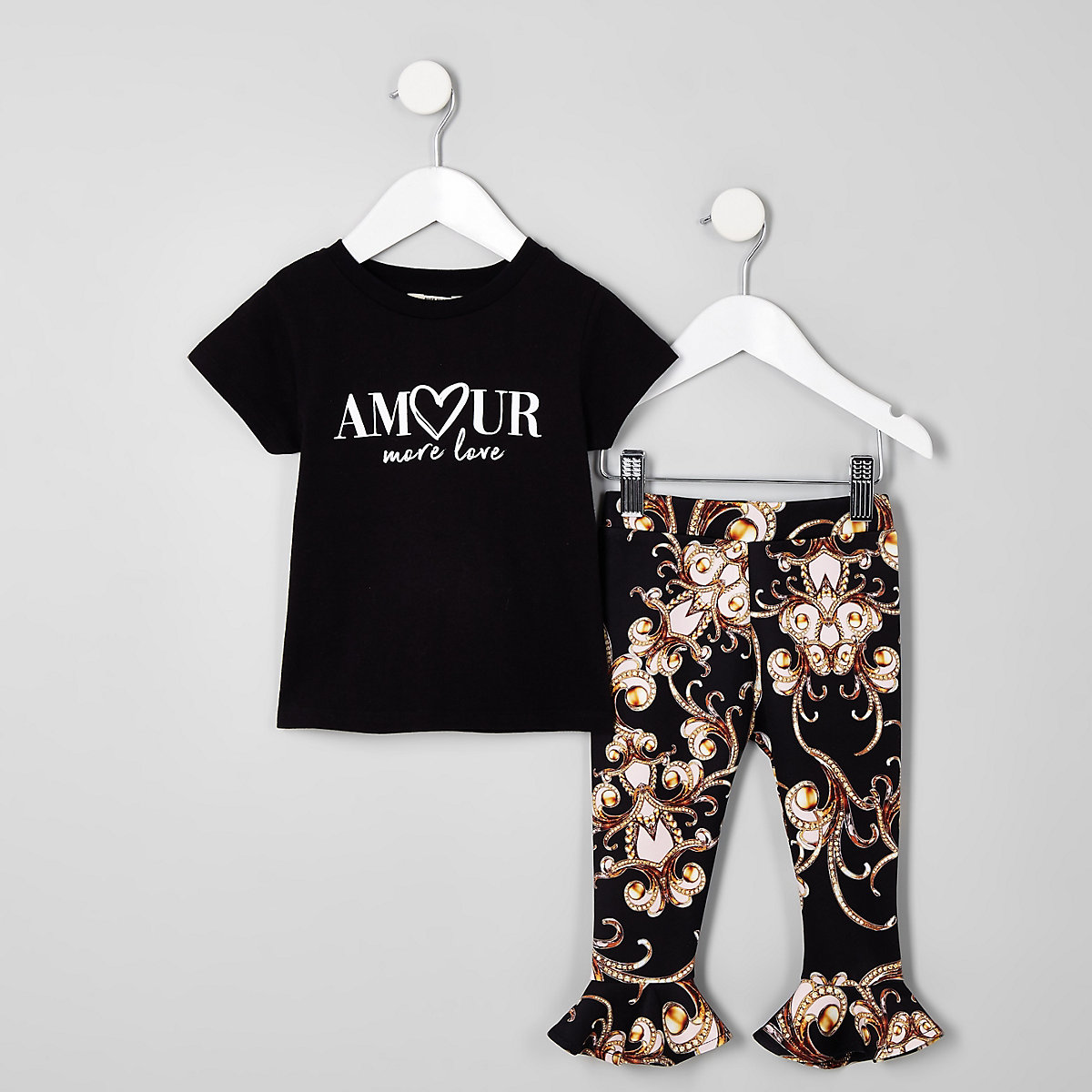 Mini girls black 'Amour' T-shirt outfit