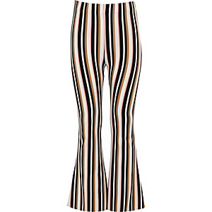 Girls cream stripe flared pant