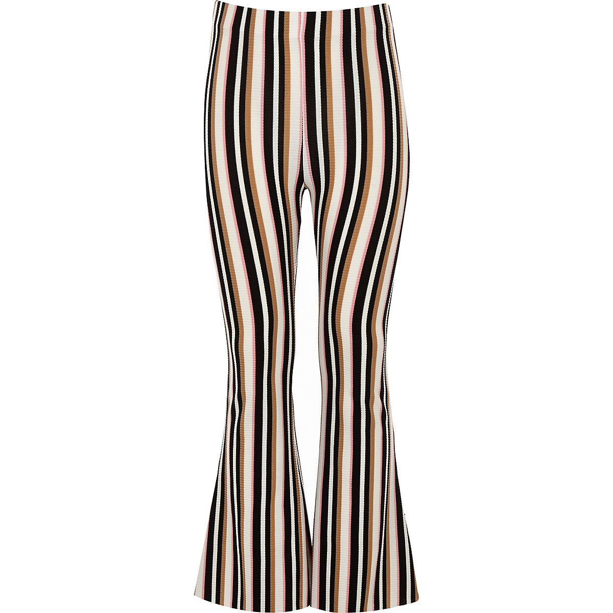 Girls cream stripe flared trouser