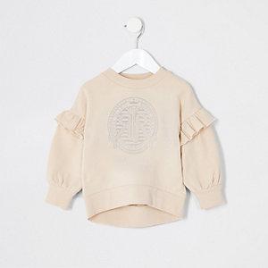 Mini girls cream RI frill sweatshirt