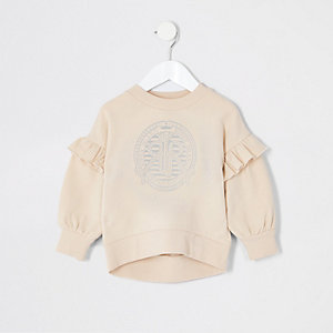 Mini - Crème sweatshirt met ruches voor meisjes