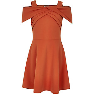 Girls rust bow bardot skater dress