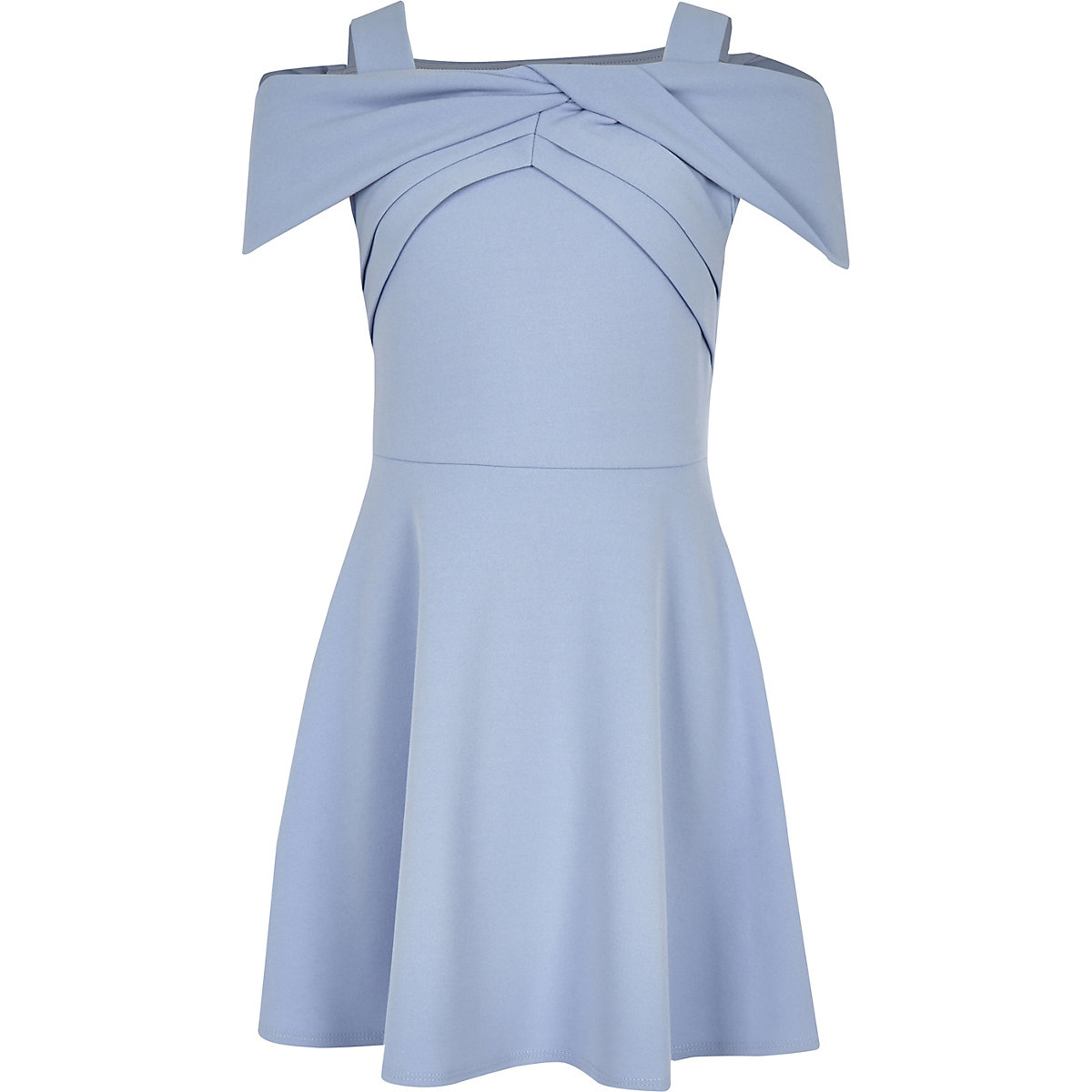 Girls blue bow bardot skater dress