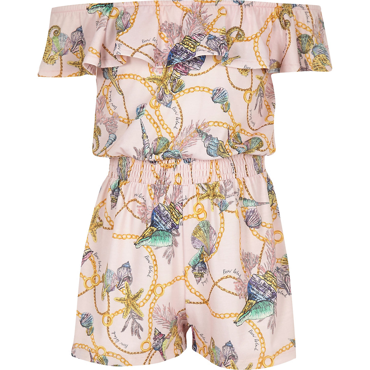 Girls light pink bardot frill romper