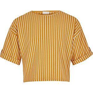 T-shirt rayé jaune pour fille