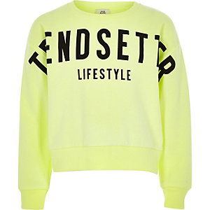 Girls bright green 'Trendsetter' sweatshirt