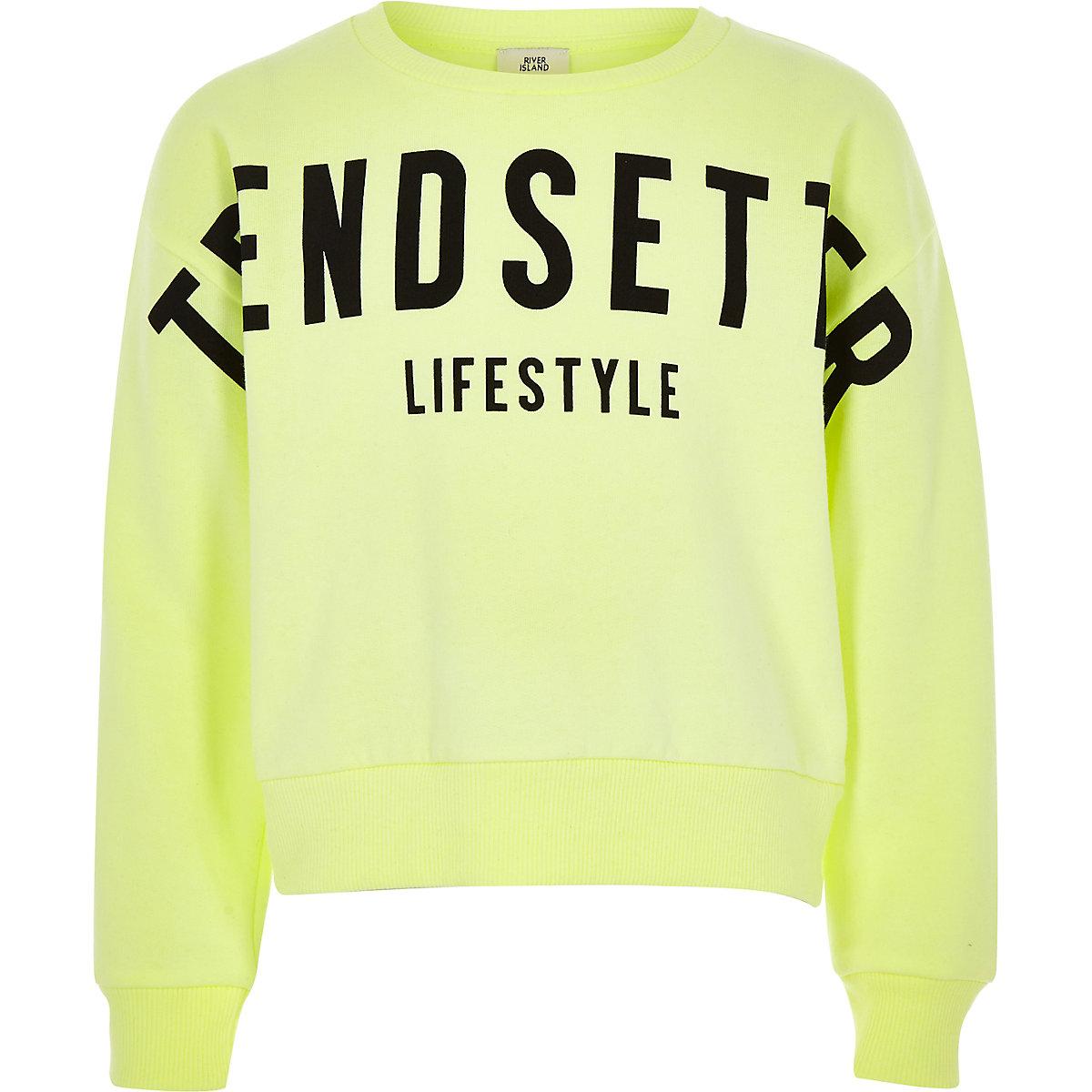 Girls bright green 'Trendsetter' sweatshirt