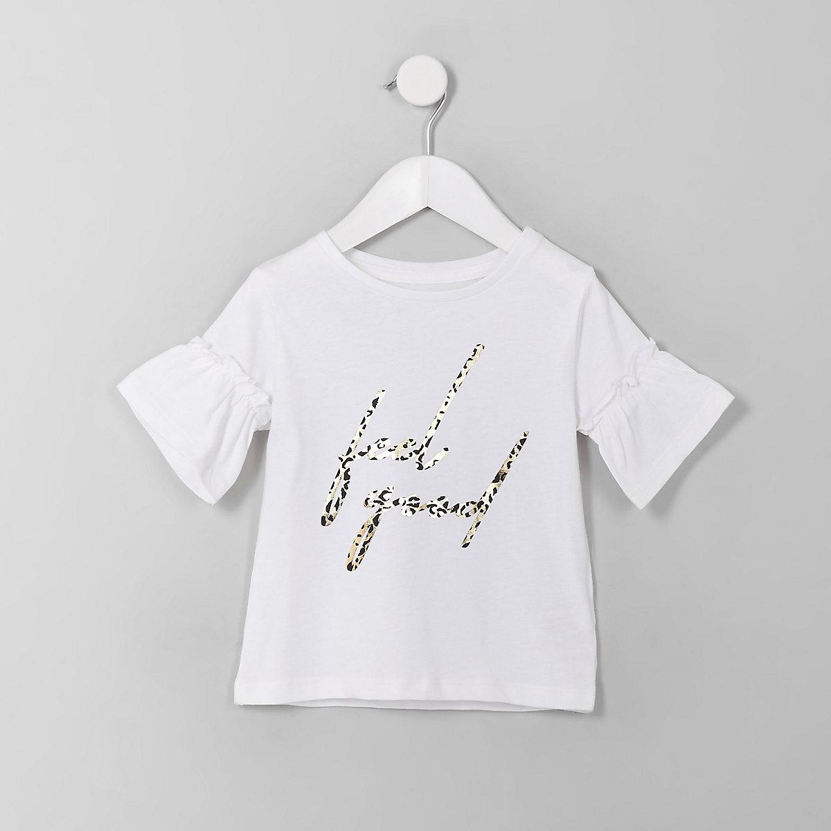Mini girls white 'Feel good' frill T-shirt