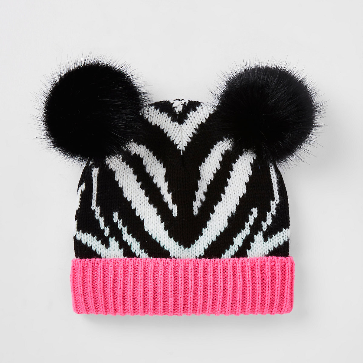 Girls black zebra print beanie hat