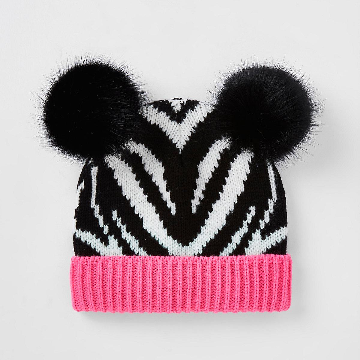 Girls black zebra print beanie hat