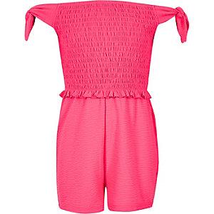Girls neon pink shirred bardot romper