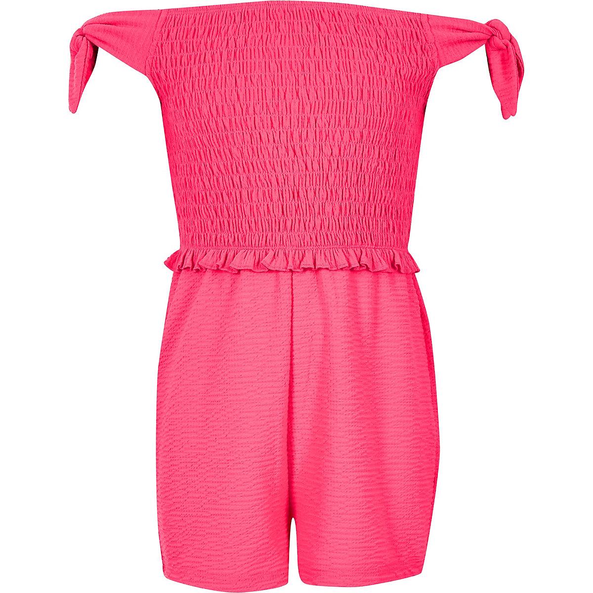 Girls neon pink shirred bardot playsuit