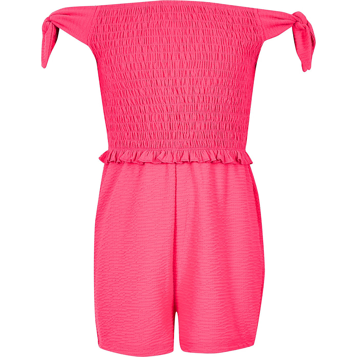 Girls neon pink shirred bardot romper