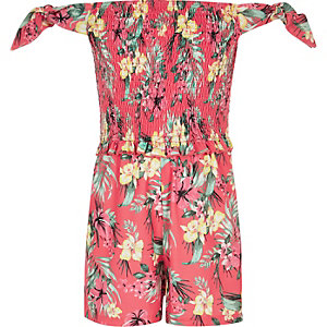 Girls tropical print shirred bardot romper