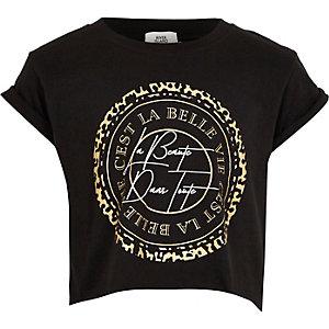 T-shirt « C'est la belle vie » noir pour fille