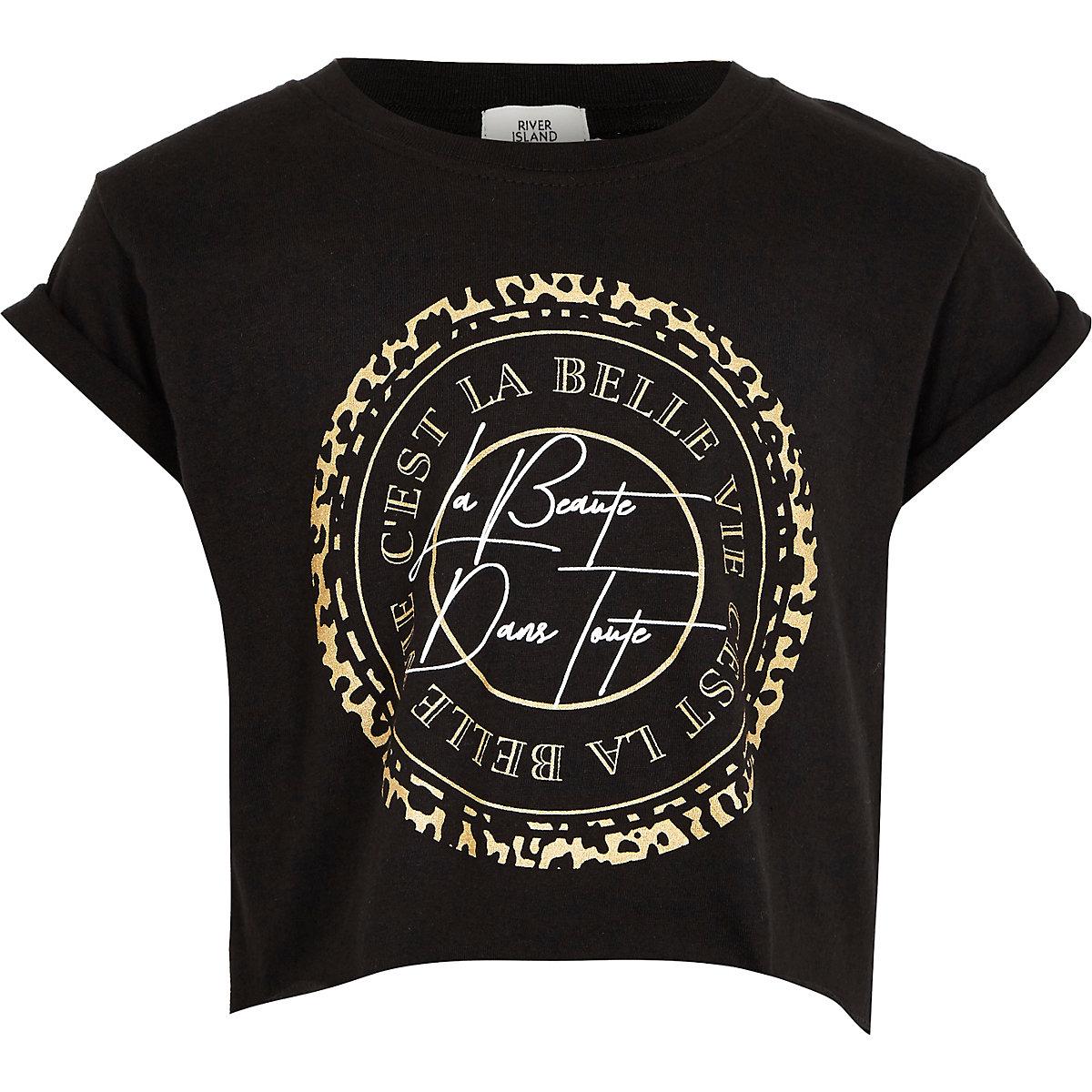 Girls black 'C'est la belle' T-shirt
